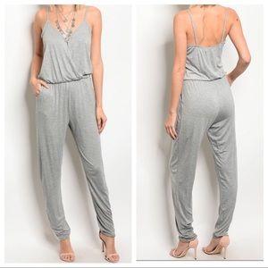 Pants - Light grey tank jumpsuit